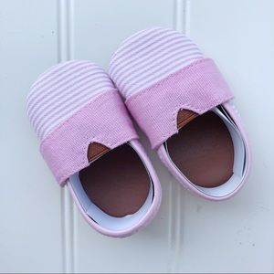 Pink Striped Velcro Slippers | 0-6 months